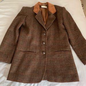 Vintage Tweed Wool Plaid Blazer Suede Collar